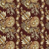 Hand drawing ornate seamless flower paisley design Royalty Free Stock Photography