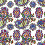 Hand drawing ornate seamless flower paisley design Royalty Free Stock Images