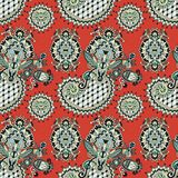 Hand drawing ornate seamless flower paisley design Royalty Free Stock Image