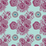 Hand drawing ornate seamless flower paisley design Stock Image