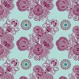 Hand drawing ornate seamless flower paisley design Stock Image