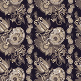 Hand drawing ornate seamless flower paisley design Stock Images