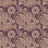 Hand drawing ornate seamless flower paisley design Royalty Free Stock Photo