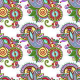 Hand drawing ornate seamless flower paisley design Stock Photos