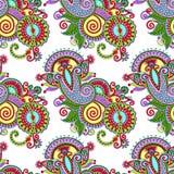 Hand drawing ornate seamless flower paisley design Stock Photos