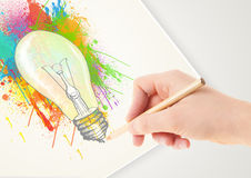 Hand drawing on paper a colorful splatter Stock Photo