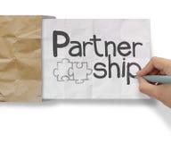 Hand drawing Partnership Puzzle Royalty Free Stock Photo