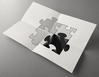 Hand drawing Partnership Puzzle Royalty Free Stock Photography
