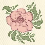 Hand drawing pastel color flowers at polkadot Royalty Free Stock Photo