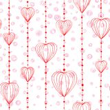 Hand drawing pattern with threads and heart bead. Hand drawing pattern with threads ,heart bead and spots vector royalty free illustration