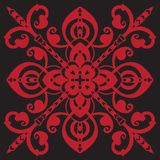 Hand drawing pattern for tile in black and red colors. Italian majolica style. Hand drawing pattern for tile in black and red colors. Isolated on background royalty free illustration