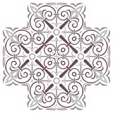 Hand drawing pattern for tile in black and white colors. Italian majolica style. Hand drawing pattern for tile in black and white colors. Isolated on background stock illustration