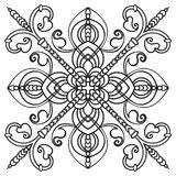 Hand drawing pattern for tile in black and white colors. Italian majolica style. Hand drawing pattern for tile in black and white colors. Isolated on background royalty free illustration