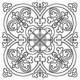 Hand drawing pattern for tile in black and white colors. Italian majolica style Royalty Free Stock Image