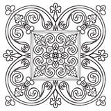 Hand drawing pattern for tile in black and white colors. Italian majolica style Stock Photo