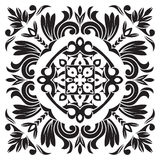 Hand drawing pattern for tile in black and white colors. Italian majolica style Stock Photography