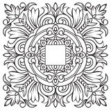 Hand drawing pattern for tile in black and white colors. Italian majolica style Stock Photos