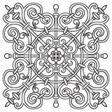 Hand drawing pattern for tile in black and white colors. Italian majolica style Royalty Free Stock Photo