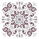 Hand drawing pattern for tile in dark brown, gray, black and white colors. Italian majolica style Royalty Free Stock Photos
