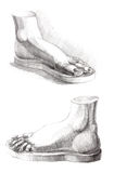 Hand drawing picture of foots Royalty Free Stock Photo