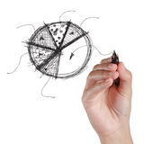 Hand drawing pie on a white Stock Photo