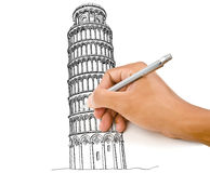 Free Hand Drawing Pisa Tower Line In Italy For Constru Royalty Free Stock Photography - 25965807