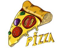 Hand drawing pizza Royalty Free Stock Photography
