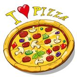 Hand drawing pizza Royalty Free Stock Photo