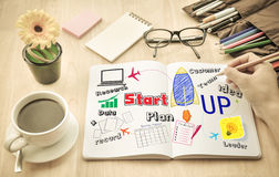 Hand drawing Planning Idea start up concept. Stock Photography