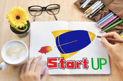 Hand drawing Planning Idea start up concept. Stock Photos