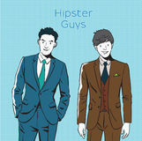 Hand drawing  pop art illustration of business hipsters ,urban style. Royalty Free Stock Photography
