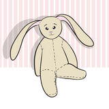 Hand drawing rag bunny sitting  Royalty Free Stock Photo