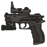 Modern automatic handgun. Hand drawing of a recent black automatic handgun with an optical sight Stock Image
