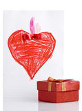 Freehand Drawing Red Heart and Gift Box Stock Photos