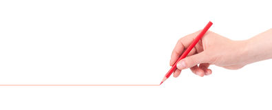Hand drawing red line with pencil  Royalty Free Stock Photos