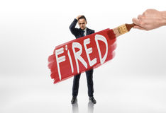 Hand drawing red line with sign firedover the businessman. Hand drawing red line with sign fired over the businessman. Losing a job. Jobless. Discharging Stock Photos