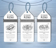 Hand drawing restaurant menu label design. Hand drawing restaurant menu design on wooden background Stock Photo