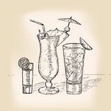 Hand drawing retro cocktail party card Royalty Free Stock Photos