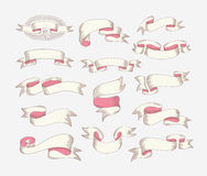 Hand drawing ribbon set in engraving old vintage style design el Royalty Free Stock Photos
