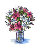 Hand drawing rose and white lily in a glass vase Royalty Free Stock Photos