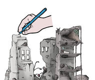 Hand drawing ruins Royalty Free Stock Images