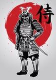 Hand drawing of samurai warrior with samurai word writes in kanj Stock Image