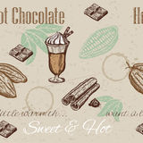 Hand drawing seamless pattern of cacao beans, chocolate, cup of hot chocolate, cinnamon. Royalty Free Stock Photo