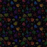 Hand Drawing Seamless Pattern of Colorful Hearts on Black   Royalty Free Stock Photo