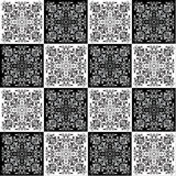 Hand drawing seamless pattern for tile in black and white colors. Royalty Free Stock Images
