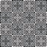 Hand drawing seamless pattern for tile in black and white colors. Royalty Free Stock Photos