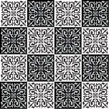 Hand drawing seamless pattern for tile in black and white colors. Stock Image