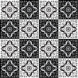 Hand drawing seamless pattern for tile in black and white colors. Stock Photo