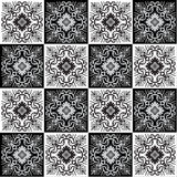 Hand drawing seamless pattern for tile in black and white colors. Royalty Free Stock Photography