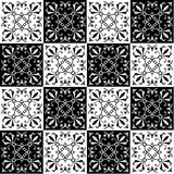 Hand drawing seamless pattern for tile in black and white colors. Stock Photos